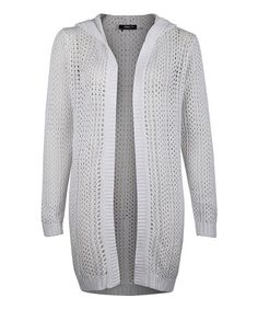 Another great find on #zulily! White Open-Knit Hooded Open Cardigan by Dex #zulilyfinds