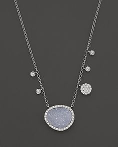 Meira T 14K White Gold Druzy and Diamond Necklace, 16"
