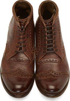 Dolce & Gabbana: Brown Worn Leather Brogue Boots | SSENSE