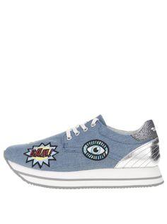Modré tenisky s nášivkami Tamaris Converse Chuck Taylor High, Converse High, High Top Sneakers, Chuck Taylors High Top, High Tops, Shoes, Fashion, Moda, Zapatos