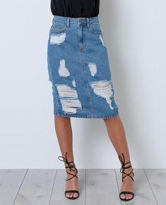 Blue Break Denim Skirt - Styles for dress - Denim Fashion Modest Denim Skirts, Cute Modest Outfits, Denim Skirt Outfits, Cute Skirts, Jean Skirts, Long Skirts, Trendy Outfits, Summer Outfits, Denim Shorts