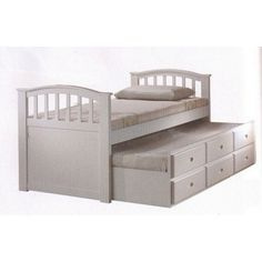 Acme White Finish Wood Twin Bed With Pull Out Trundle Storage Drawers