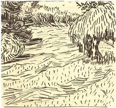 Newly Mowed Lawn with Weeping Tree - Vincent van Gogh . Created in Arles in Located at Van Gogh Museum. Find a print of this Letter Sketches Vincent Van Gogh, Artist Van Gogh, Van Gogh Art, Landscape Sketch, Landscape Drawings, Landscape Art, Van Gogh Drawings, Weeping Trees, Van Gogh Landscapes