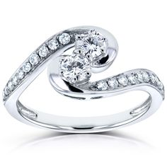 Annello by Kobelli Two 14k White Gold 1/2ct TDW Diamond Two-Stone Swirl Curved Ring (H-I, (Size 10.5), Women's