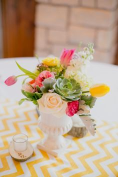 yellow chevron table decor See the entire bright and cherry wedding here http://www.weddingchicks.com/2013/07/24/bright-and-cheery-wedding/
