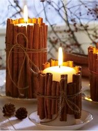 """Tie cinnamon sticks around your candles. the heated cinnamon makes your house smell amazing. Great for the winter! I did this with pieces of driftwood sticks I found on the beach and put T- lights in the containers. second hand shops have votives and clear stright up sided vases to do this. Really a cool craft!"""" data-componentType=""""MODAL_PIN"""