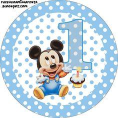 LARGE PRINTABLE SET Mickey Baby Azul Poá – Kit Completo com molduras para convites, rótulos para guloseimas, lembrancinhas e imagens! | Fazendo a Nossa Festa