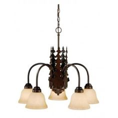 Cascadia Yosemite Burnished Bronze Rustic Tinted Glass Chandelier at Lowe's. Evoking the spirit of the wilderness, this rustic themed light is clad in a burnished bronze finish and features silhouetted tree imagery atop glowing Rustic Chandelier Lighting, Sputnik Chandelier, Chandelier Shades, Chandelier Pendant Lights, Chandeliers, Wheel Chandelier, Cabin Lighting, Rustic Lamps, Lighting Ideas
