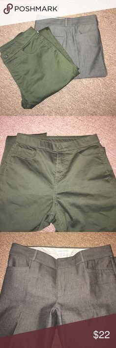 Two pairs of pant Size 6 One of the set is casual pants, color military green, d & co and the other set of pants are Dressy Banana Republic color gray ( tiny chevron pattern) gorgeous! Both are new condition. Pants