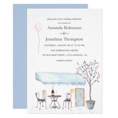 #Watercolor Paris themed Wedding invitation - #engagement #party engagement partywedding showerwedding