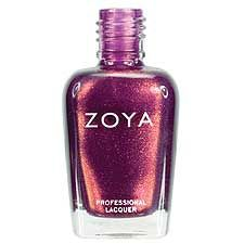 Zoya Nail Polish in Pru - A bronzed plum with flecks of gold glitter and subtle purple and gold duochrome.