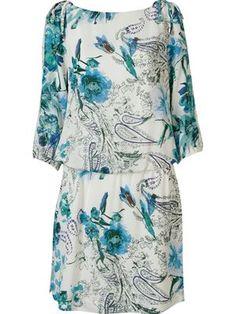 Vestido floral de seda                                                                                                                                                                                 Mais