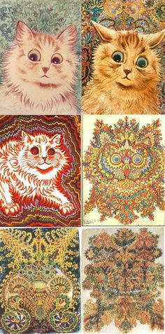 Louis Wain's drawings of cats changed as his schizophrenia progressed, this has always blown my mind. amazing!