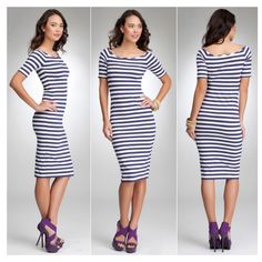 Blue/white stripe dress