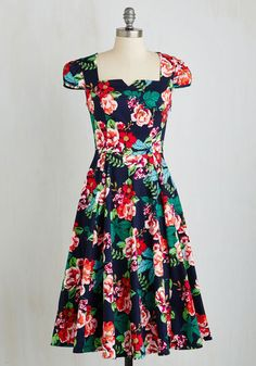 Peppy Per Usual Dress - Multi, Floral, Print, Daytime Party, Pinup, 50s, 60s, A-line, Short Sleeves, Woven, Better