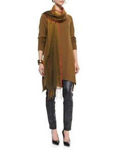Eileen Fisher Merino Jersey Layering Dress, Ponte Leather-Blocked Leggings & Airy Linen-Wool Scarf, Women's