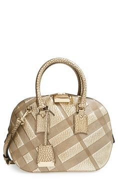 Burberry 'Small Orchard' Embossed Check Leather Satchel available at #Nordstrom