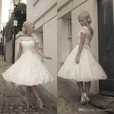 Wedding Dresses 2016 Short Vintage Full Lace Illusion Neck Short Sleeves Sashes Formal Vestidos A Line Cheap Bridal Gowns Custom Made Cheap Wedding Dresses White Dresses From Haiyan4419, $109.95| Dhgate.Com