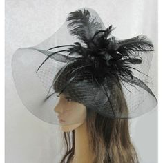 Black Feather Netting Tulle Dress Veil Hat Headpieces for Church Women  SKU-11202102 0719a95ca53f