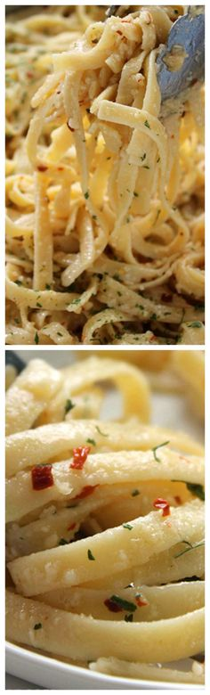 Garlic Parmesan Noodles ~ Easy and delicious side dish with just about any meal... Butter, garlic, noodles, Parmesan, and a few minutes of time needed for this family favorite pasta side.