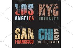 Set of us cities t-shirt designs. Vector illustration. by rikkyal on @creativemarket