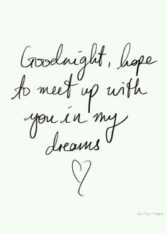 Good night... hope to meet up with you in my dreams.
