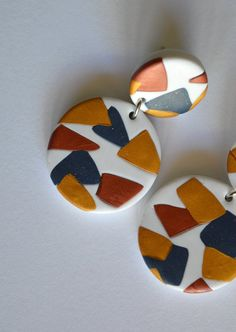 Abstract art earrings White small statement round earrings