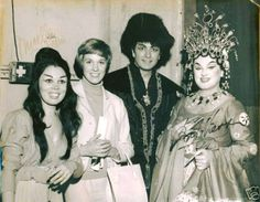 Mirella Freni, Julie Andrews, Franco Corelli, and Birgit Nilsson at the Met after a production of Turandot 1966