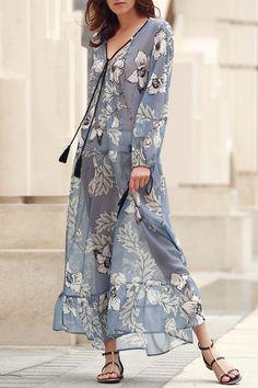 V-Neck Floral Print Boho Dress