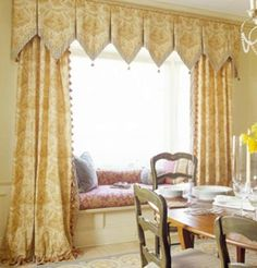 Lovely pleated valance & side panels with good trim in an attractive fabric.
