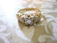 Antique Art Deco Solitaire Engagement Wedding by charmingellie, $187.00