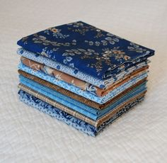 Custom made Fat Quarter Bundle of 1800s Reproduction Blues & Tans. Civil War Antique Quilt.