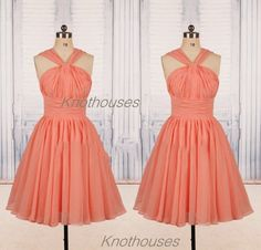 Fashion A-Line Short Chiffon Pageant Bridesmaid Dresses for Girls  This dress can be custom made, both size and color can be custom made. Custom size and color made will charge for no extra. If you need a custom dress, please send us messages for your detail requirements.  For custom size, we...