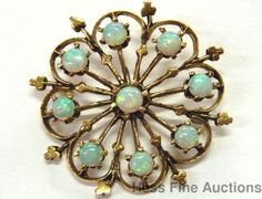 Ultra Fine 1930s Starburst Fire Natural Australian Opal 14k Gold Pin Pendant