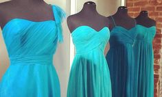A blue ombre of bridesmaid dresses. Would love to have my bridemaids wear different shades of blue :)