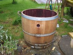 Hiding Septic Tank | Old wine barrel to hide the septic tank cover