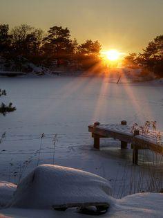 ♂ Amazing nature Sunset in swedish archipelago snow