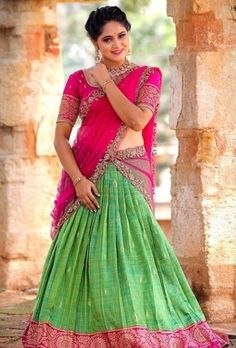 Pink and green color half saree Saree Blouse Patterns, Saree Blouse Designs, Pink Half Sarees, Half Saree Function, Lehenga Saree Design, Half Saree Designs, Lehnga Dress, Stylish Blouse Design, Indian Gowns Dresses
