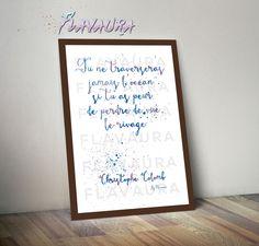 illustration typographique d'une citation de Christophe Colomb : Affiches, illustrations, posters par flavaura