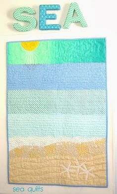 Wall quilt to match beach quilt. Lap Quilts, Quilt Baby, Small Quilts, Mini Quilts, Ocean Quilt, Beach Quilt, Rainbow Quilt, Quilting Projects, Sewing Projects