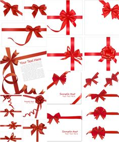 Red ribbon templates vector. 5 sets with 21 vector red ribbon templates with bows for your postcards, greeting cards, Christmas designs, etc. Format: EPS stock vector clip art. Free for download. Theme: vector ribbons, bows, Christmas.