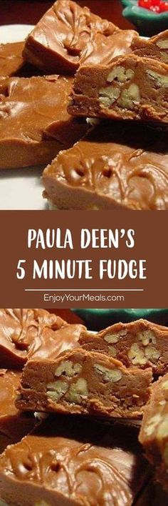 PAULA DEEN'S 5 MINUTE FUDGE - - Ingredients 1 cups white sugar cup evaporated milk 1 tablespoon unsalted butter teaspoon salt 1 ounce) packages milk chocola. Köstliche Desserts, Delicious Desserts, Dessert Recipes, Yummy Food, Tasty, Candy Recipes, Sweet Recipes, 5 Minute Fudge, Candy Cookies