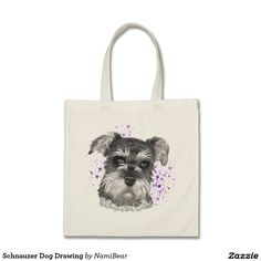 Schnauzer Dog Drawing Tote Bag by NamiBear on Zazzle.com. This is a drawing of a schnauzer dog. There is purple spray paint in the background.