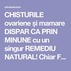 CHISTURILE ovariene și mamare DISPAR CA PRIN MINUNE cu un singur REMEDIU NATURAL! Chiar FUNCȚIONEAZĂ | ROL.ro Health And Wellness, Health Tips, Health Fitness, Healthy Life, Healthy Living, Alter, Metabolism, Good To Know, Natural Remedies