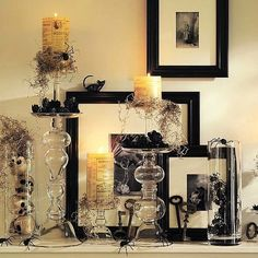 Classy Halloween Decor, Witchy, black, glass, cream, white, candles