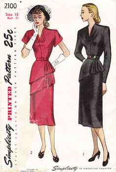 1940s GLAMOUROUS Vintage Simplicity Pattern No. 2100 For Misses'  1-Piece Dress With ASYMMETRICAL Single Or Double Tier PEPLUM - 36 Bust