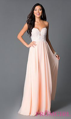 Beaded Corset Strapless Sweetheart Peach Long Prom Dress at PromGirl.com