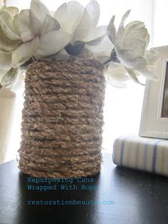 Using Rope to Repurpose Cans from Restoration Beauty. Gonna do this with old baby formula cans Decor Crafts, Fun Crafts, Arts And Crafts, Paper Crafts, Craft Tutorials, Craft Projects, Craft Ideas, Diy Ideas, Formula Can Crafts