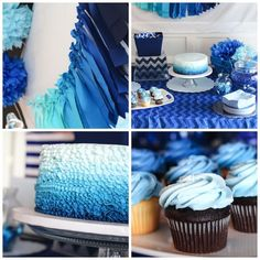 Blue Ombre Birthday Party Decoration, Decoration İdeas Party, Decoration İdeas, Decorations For Home, Decorations For Bedroom, Decoration For Ganpati, Decoration Room, Decoration İdeas Party Birthday. #decoration #decorationideas Baby Shower Cupcakes For Boy, Cupcakes For Boys, Baby Shower Decorations For Boys, Baby Boy Shower, Blue Party Decorations, Baby Showers, Blue Birthday Parties, Baby Boy Birthday, Birthday Party Themes