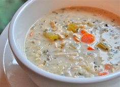 Chef Mommy: Slow Cooker Creamy Chicken and Wild Rice Soup- my friend Patti made this and said it was awesome- total keeper